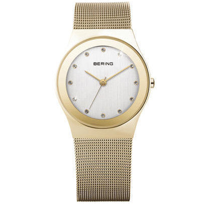 Bering - Classic Ladies, Swarovski Crystal Set, Stainless Steel and Yellow Gold Plate Mesh Strap Watch