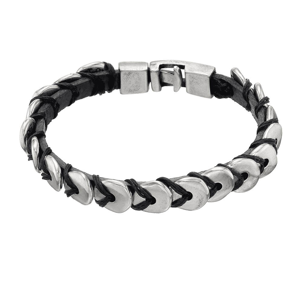 UNO de 50 - O te las Comes, Leather and Silver Plated Metal Alloy Bracelet