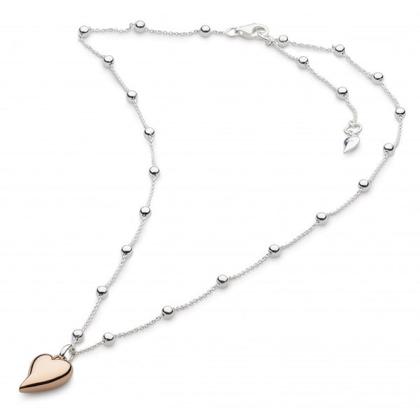 Kit Heath - Desire Cherish Heart, Rose Gold Plated, Sterling Silver Bobble Necklace, Size 18""