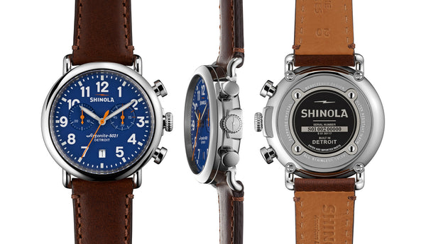 Shinola - Runwell, Brown Leather Strap Blue Dial Watch, Size 41mm