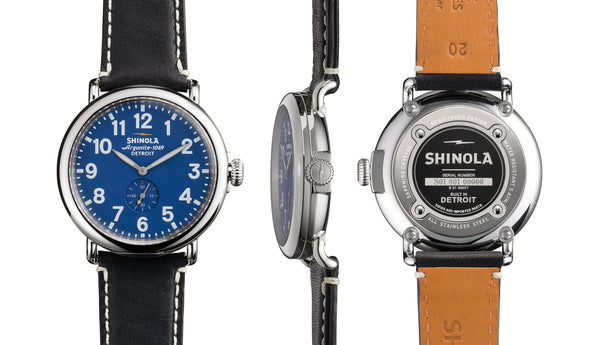 Shinola - Runwell, Black Leather Strap Blue Dial Watch, Size 41mm
