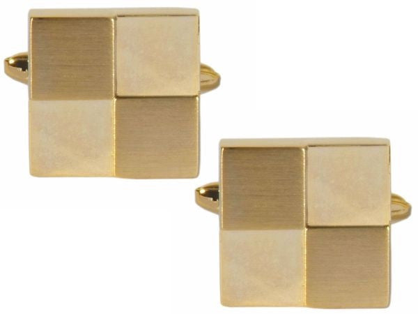 Dalaco - Stainless Steel and Gold Plate Square Quarters Cufflinks