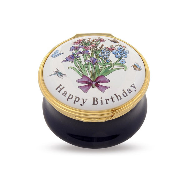 Halcyon Days - Happy Birthday, Enamel Pill Box