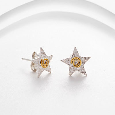 Banyan - Silver and Gold Set, Silver and Gold Star Stud Earrings