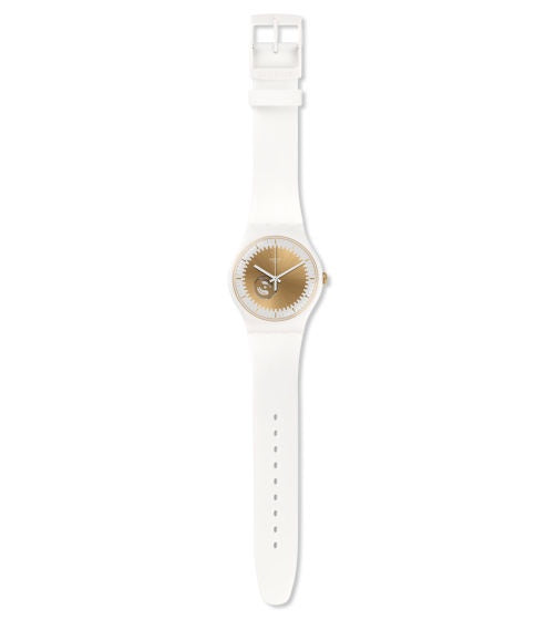 Swatch - Sunsplash, Plastic and Silicone White and Gold Watch