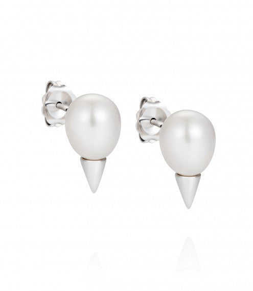 Claudia Bradby - Pearl Set, Sterling Silver Cone Earrings
