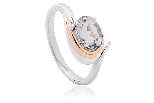 Clogau - Serenade, White Topaz Set, Silver/Rose Gold Plate Ring, Size K