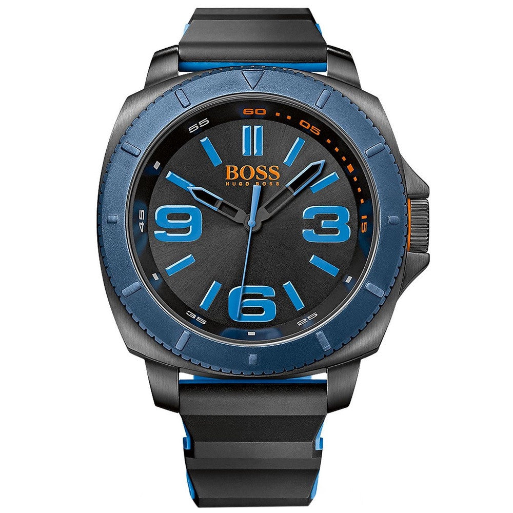 Hugo Boss - Black, Blue Rubber Strap Watch