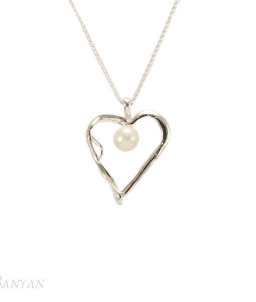 Banyan - White Pearl Set, Sterling Silver Heart Pendant Necklace
