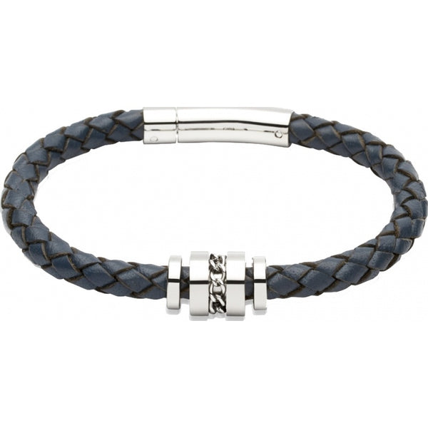 Unique - Blue Leather and Stainless Steel Bracelet, Size 21cm