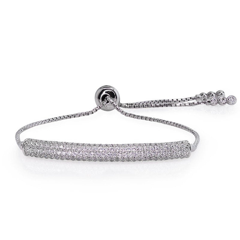 Carat London - Electra, Cubic Zirconia Set, Silver Brilliant Curved Bar Bracelet