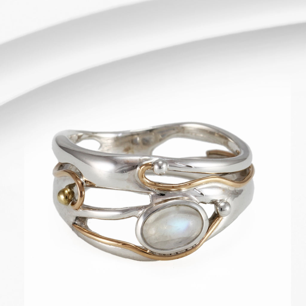 Banyan - Moonstone Set, Sterling Silver Ring, Size O