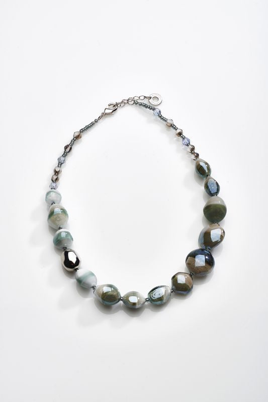 Antica Murrina - Labia, Murano Glass Set, Stainless Steel Grey/Blue Bead Necklace