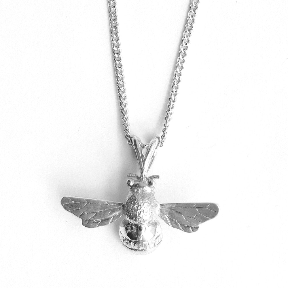 Bee Pendant in Silver with a Silver Filed Curb Chain
