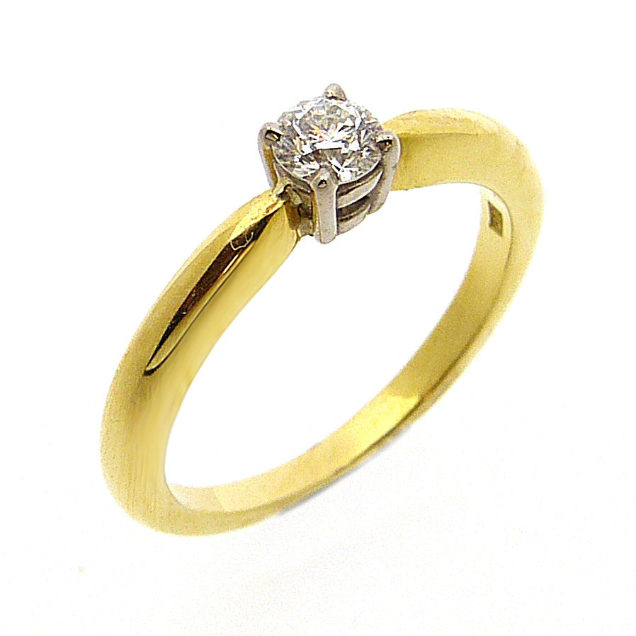 Solitaire Engagement Ring, Diamond Set in 18ct. Yellow and White Gold