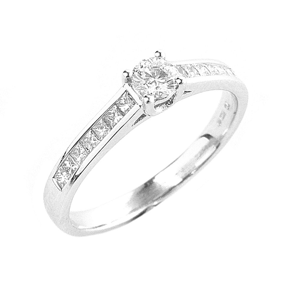 Diamond Solitaire Engagement Ring, Diamond Set in 18ct. White Gold