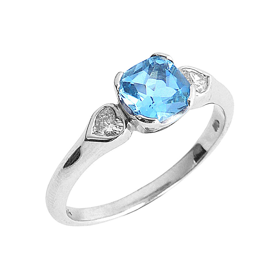 Palladium, Aquamarine and Diamond 3 Stone Ring