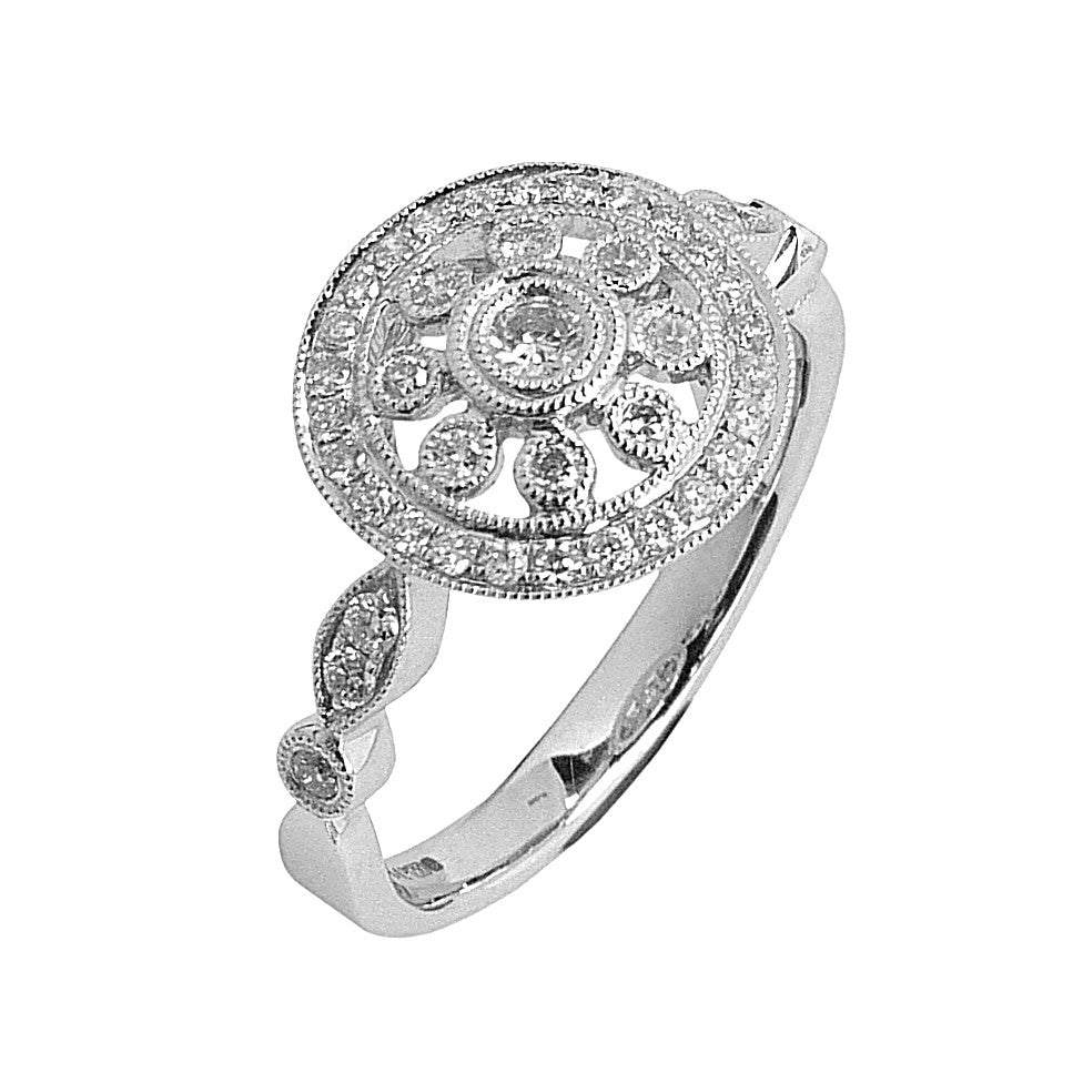 18ct. White Gold, Diamond Set Cluster Ring.