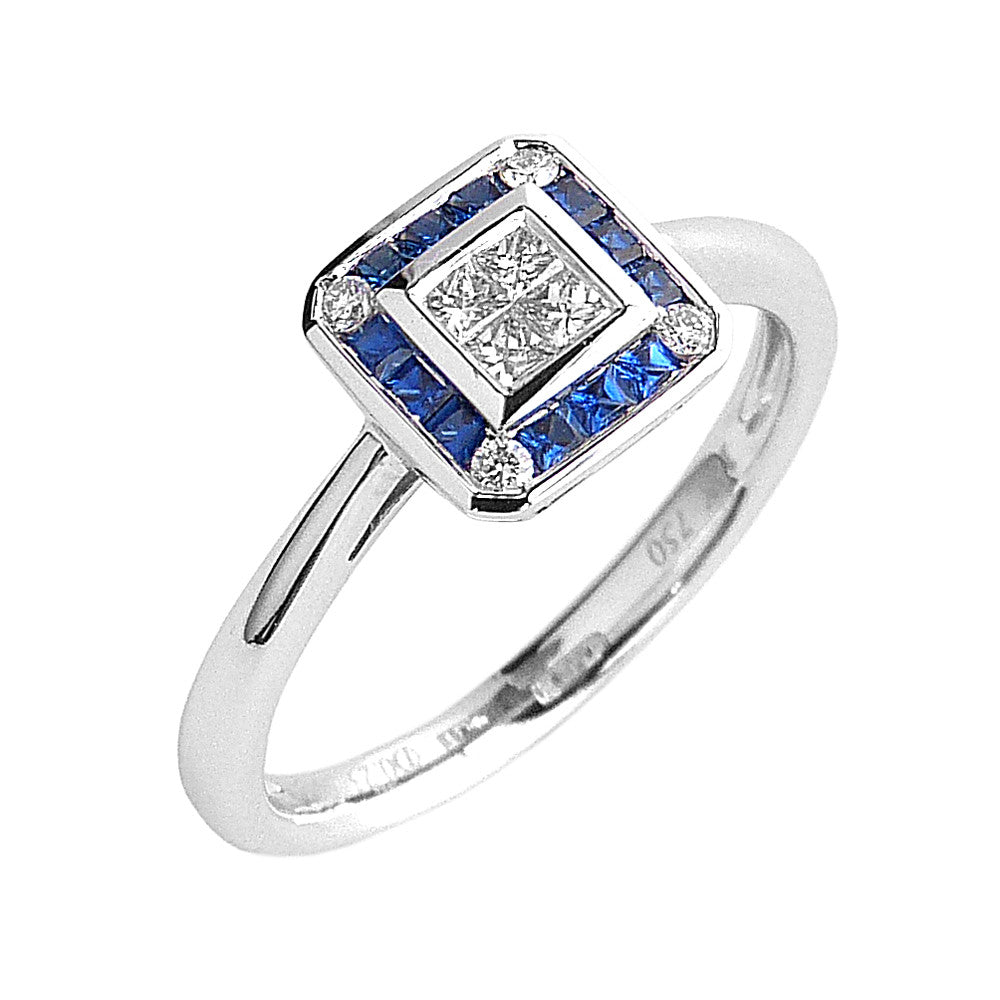 18ct. White Gold, Sapphire and Diamond Cluster Ring.