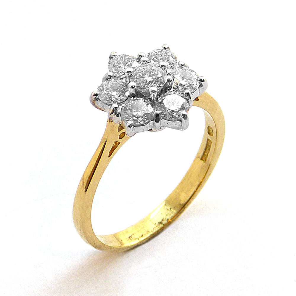Daisy Cluster Ring, Set with Diamonds in 18ct. Yellow and White Gold