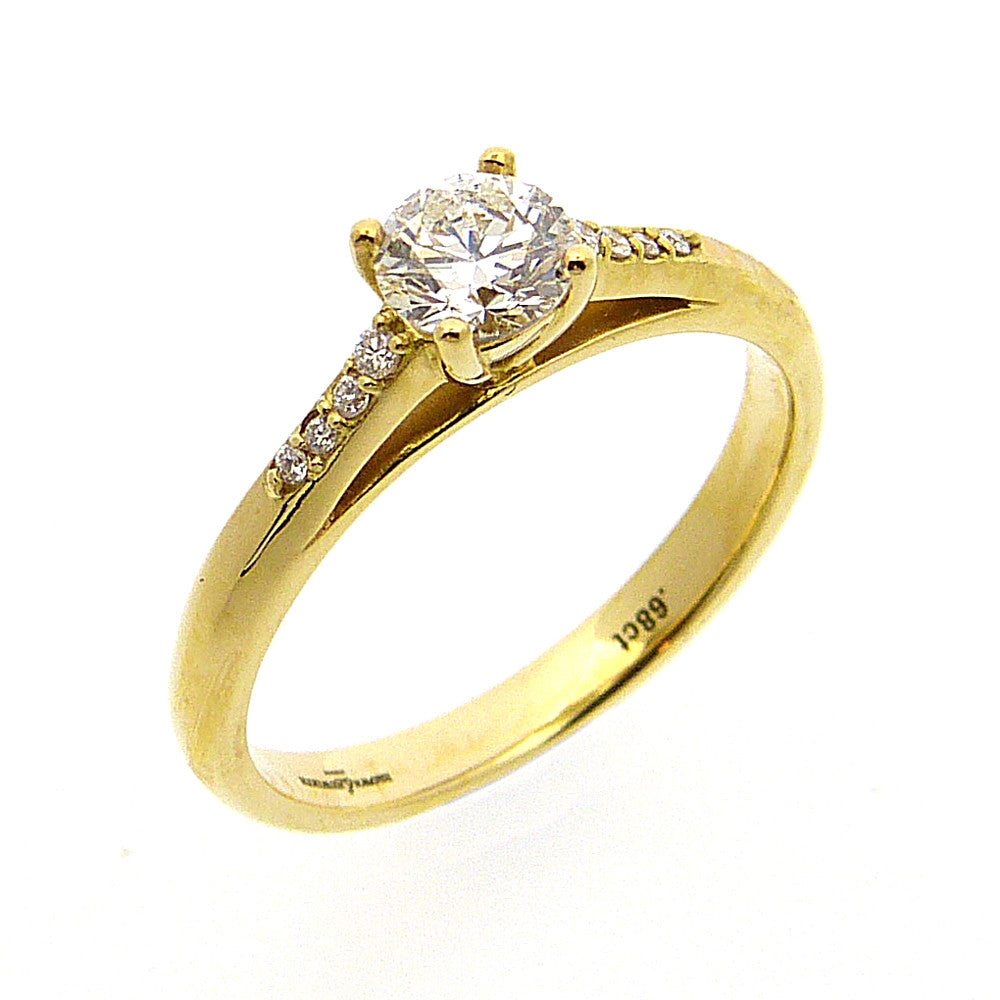 Solitaire Engagement Ring, Diamond Set in 18ct. Yellow Gold