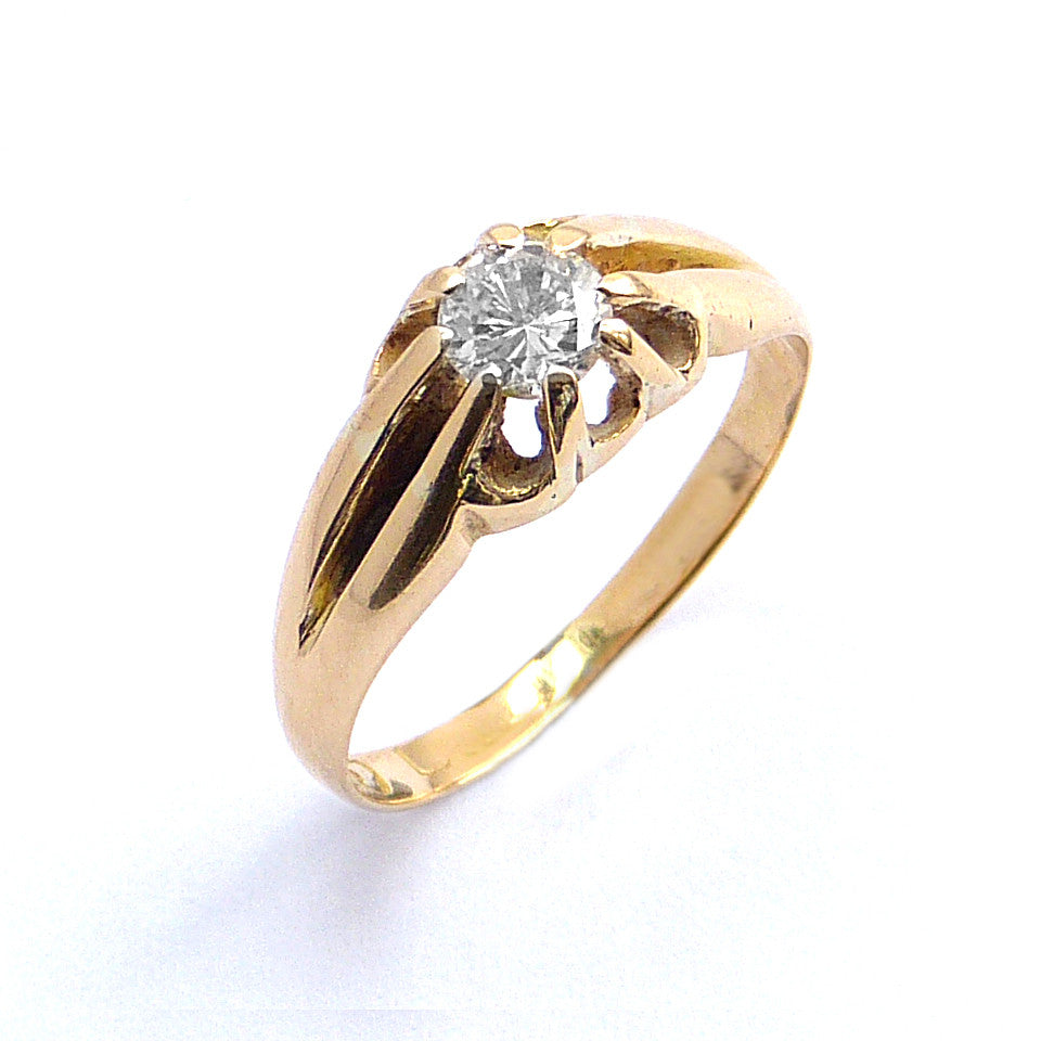Single Stone Ring Gypsy Set with a Diamond in 18ct Yellow Gold