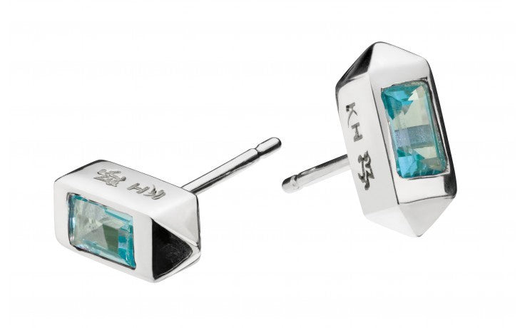 Kit Heath - Manhattan, Sky Blue Topaz Set, Sterling Silver Bar Stud Earrings