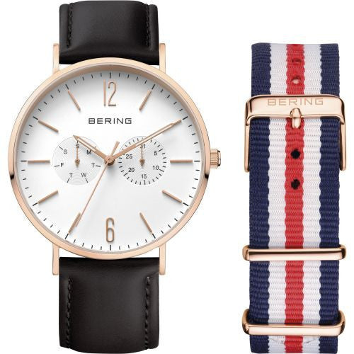 Bering - Classic, Rose Gold Plate Black Strap Chronograph Watch
