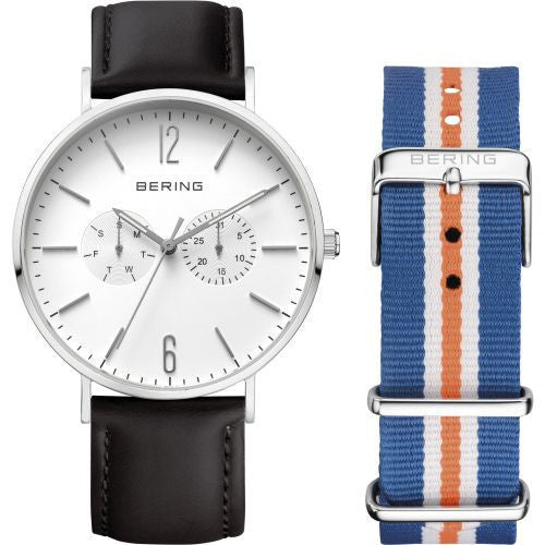 Bering - Classic, Stainless Steel Black Strap Watch