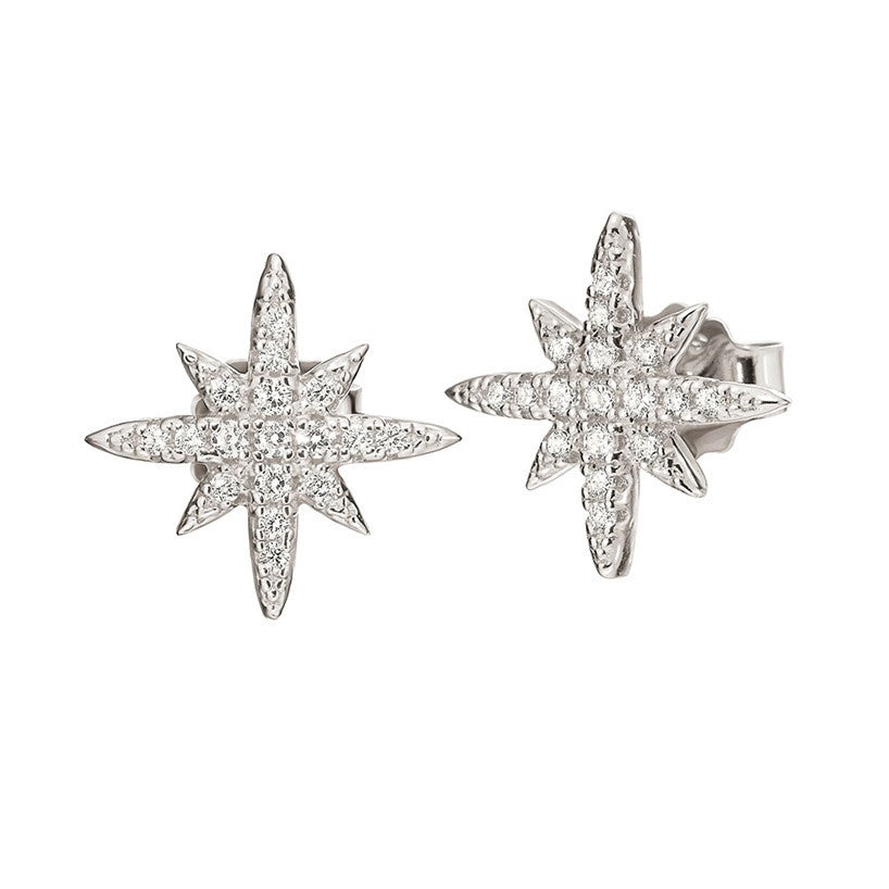 Folli Follie - Cubic Zirconia Set, Sterling Silver Star Earrings