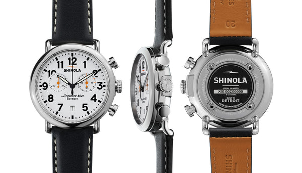 Shinola - Runwell, Black Leather Strap White Dial Watch, Size 41mm