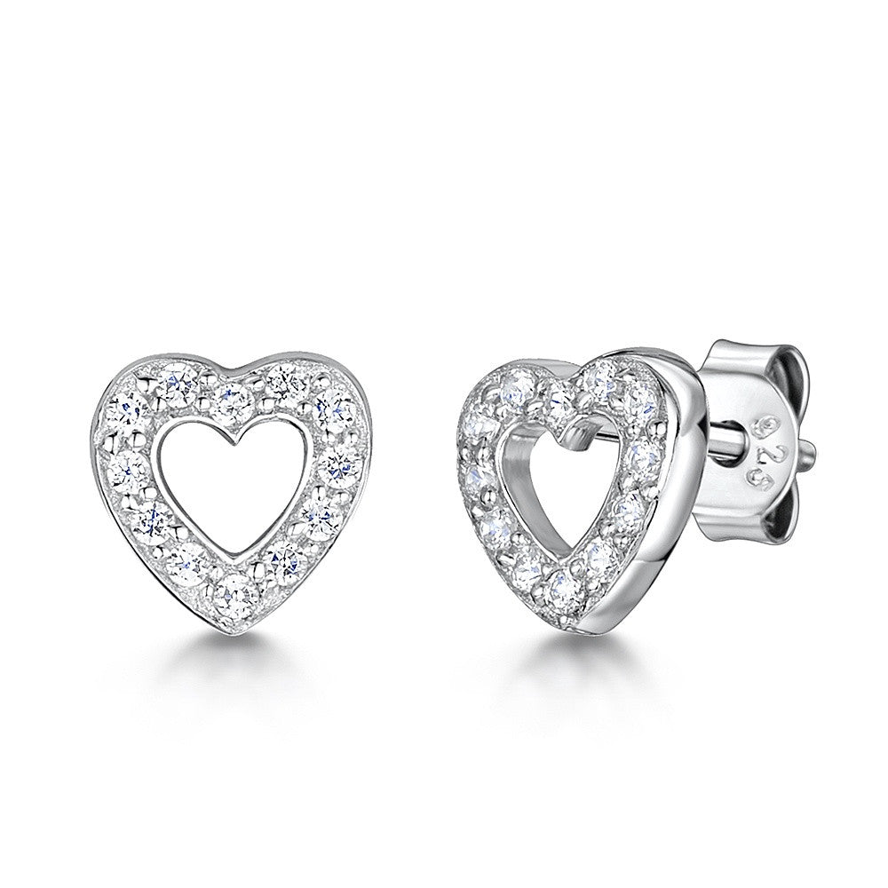 Jools - Cubic Zirconia Set, Silver Heart Stud Earrings, Size 8mm