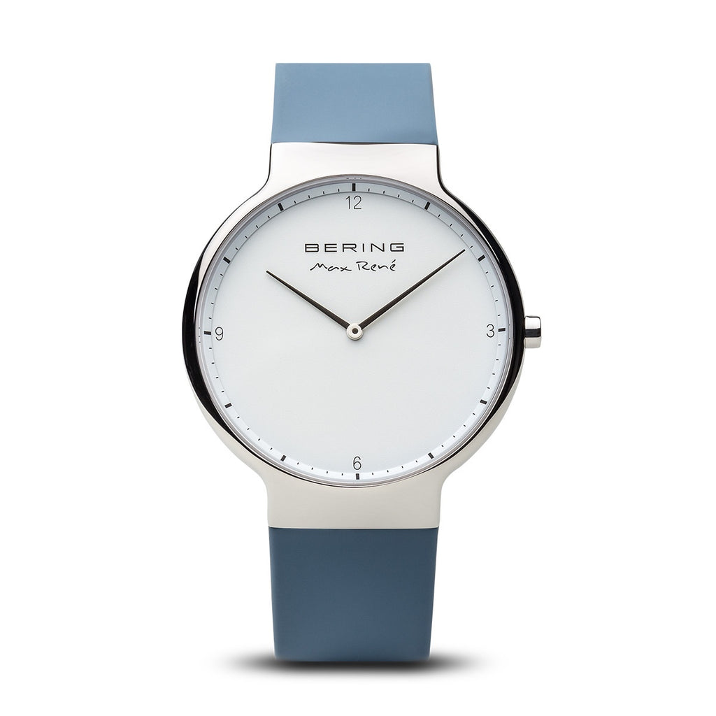Bering - Max Rene, Stainless Steel with Blue Silicone Strap Watch