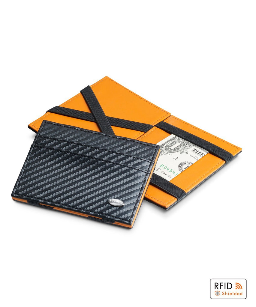 Dalvey - Black and Orange Leather Flip Wallet