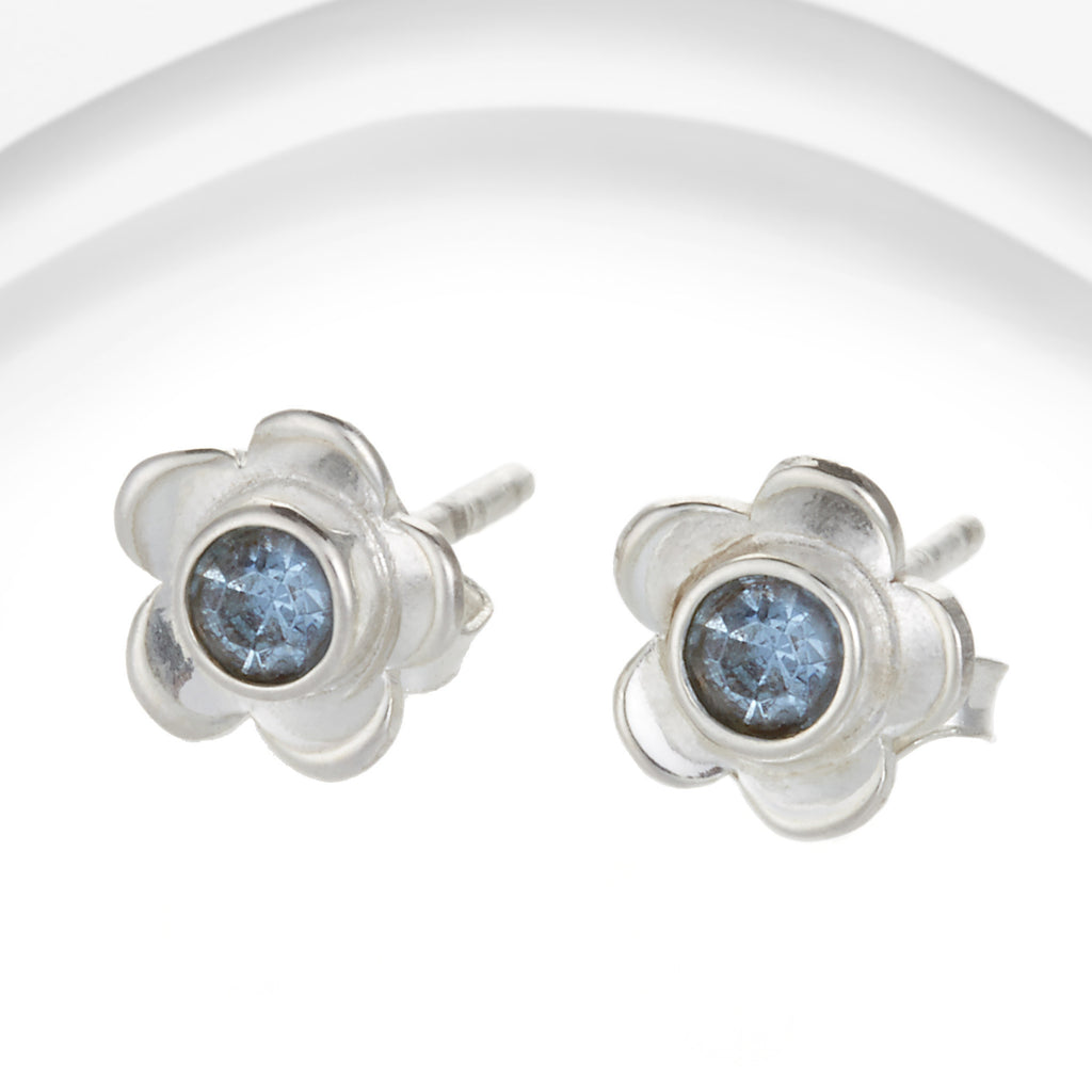 Banyan - Blue Rain Stone Set, Sterling Silver Flower Stud Earrings