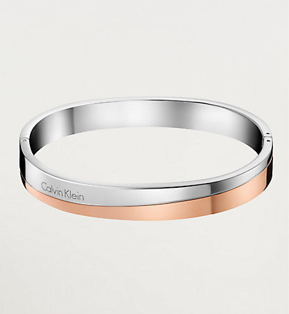 Calvin Klein - Two Tone Steel, Rose Gold Plated Ladies, Hook Bracelet, Size M