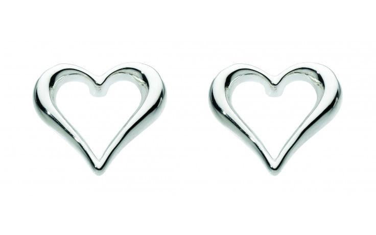 Kit Heath - Enchanted, Sterling Silver Amora Heart Stud Earring