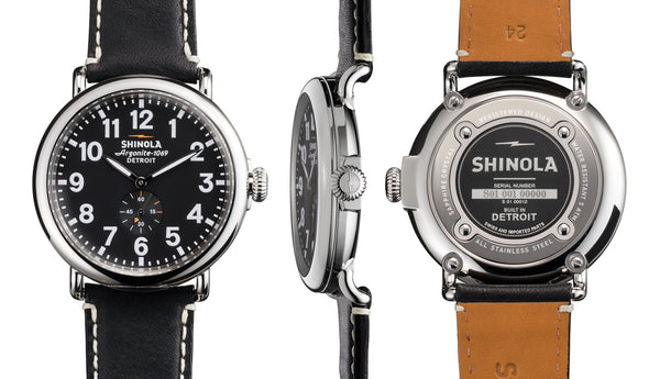 Shinola - Runwell, Black Leather Strap Black Dial Watch, Size 47mm