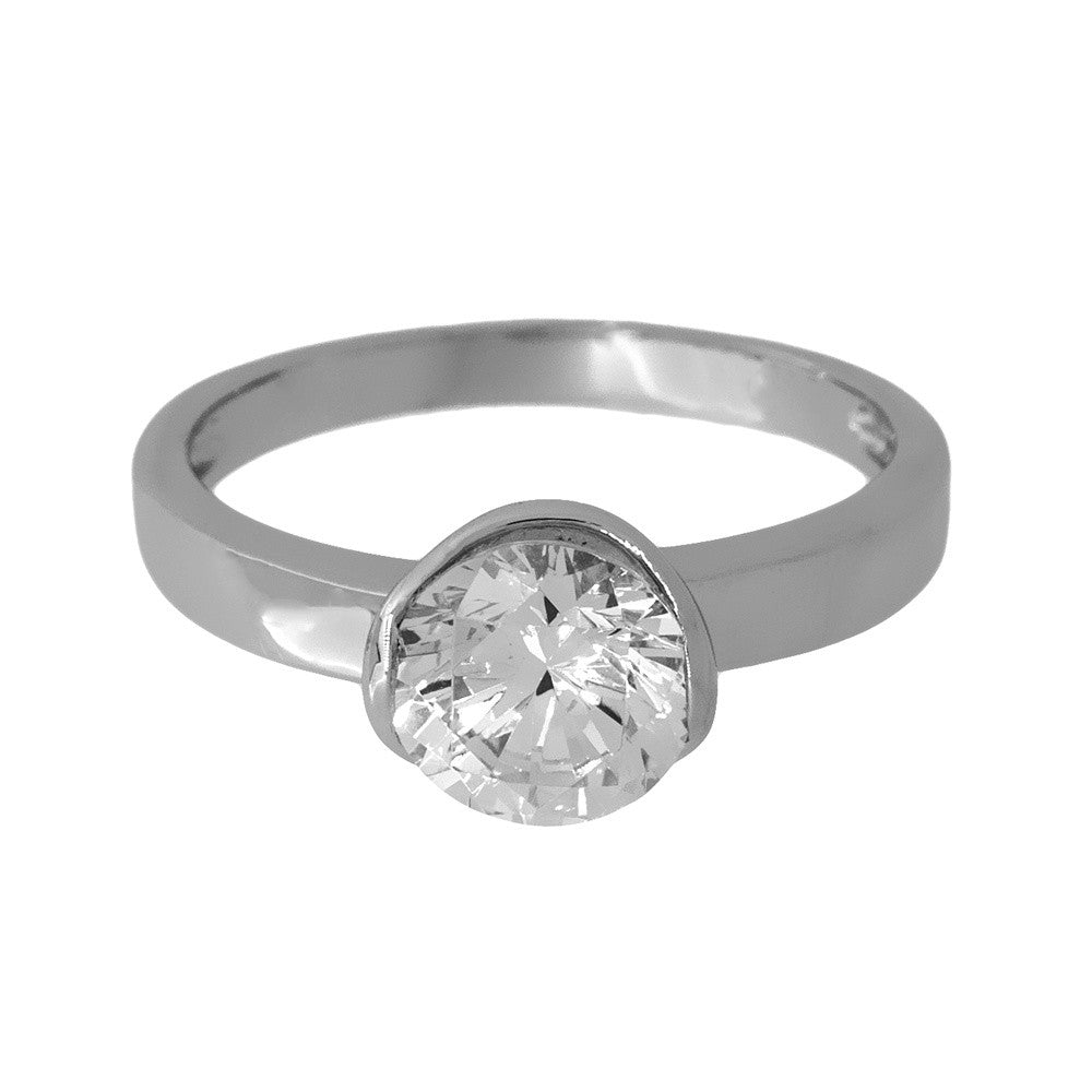 Jools - Cubic Zirconia Set, Silver Single Stone Ring, Size P