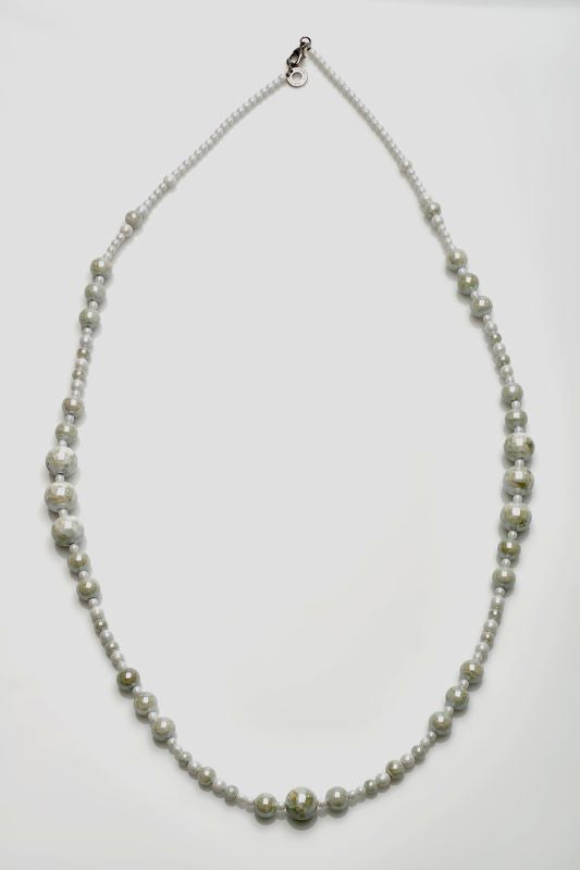 Antica Murrina - Neredie, Murano Glass Set, Stainless Steel White Bead Necklace
