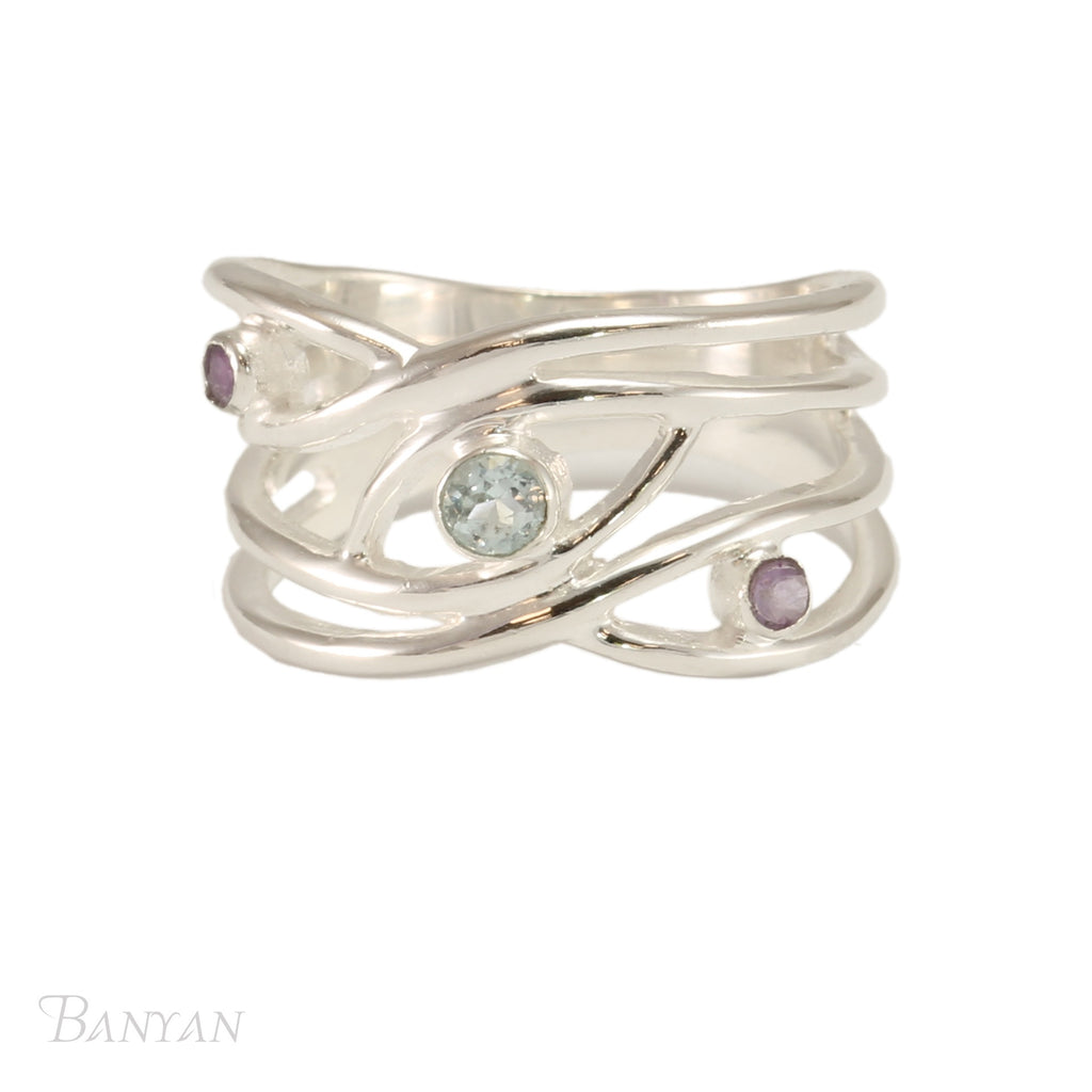 Banyan - Blue Topaz and Amethyst Set, Sterling Silver Wavy Strands Ring, Size T