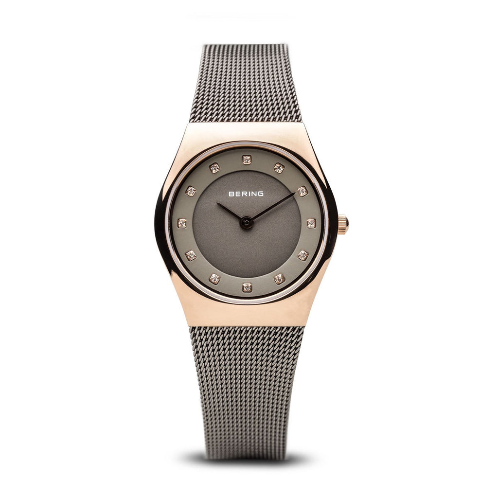 Bering - Ladies Classic, Rose Gold Plated Milanese Watch