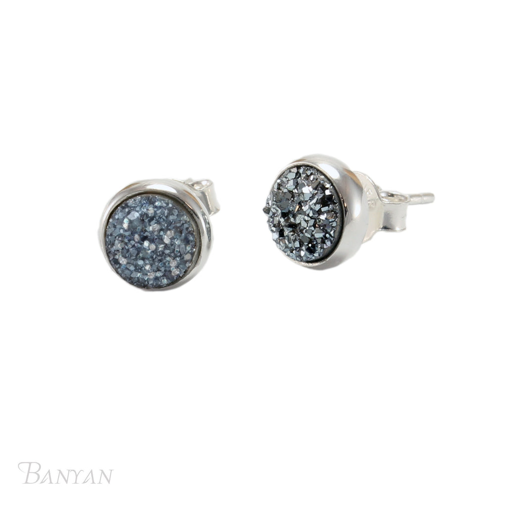 Banyan - Blue Drusy Quartz Set, Sterling Silver Stud Earrings
