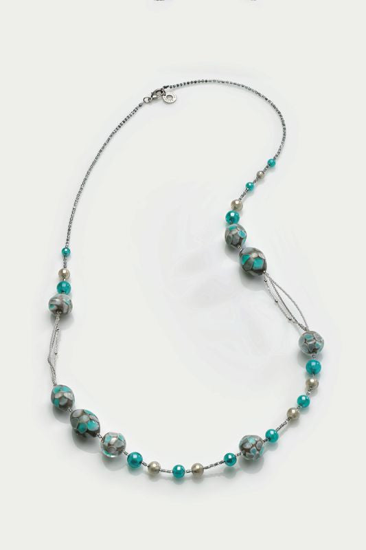 Antica Murrina - Smeralda, Murano Glass Set, Stainless Steel Blue and Silver Necklace