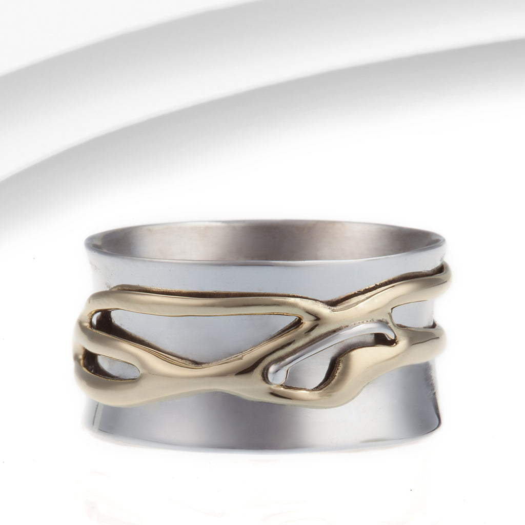 Banyan - Sterling Silver With Brass Spinning Ring, Size R