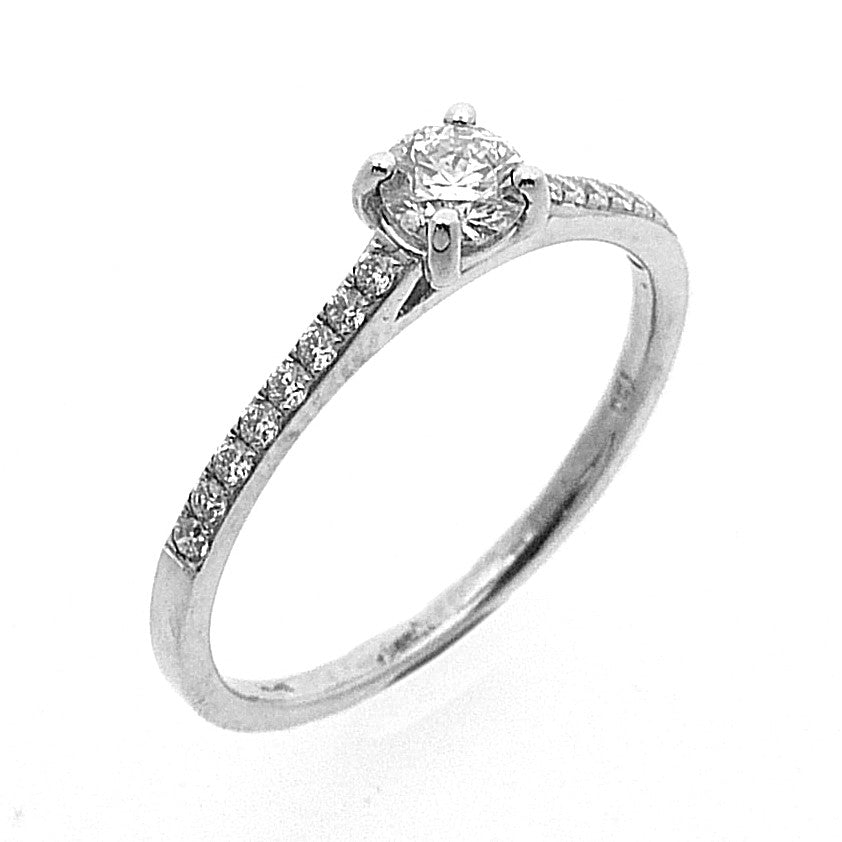 Solitaire Engagement Ring, Diamond Set in 18ct. White Gold
