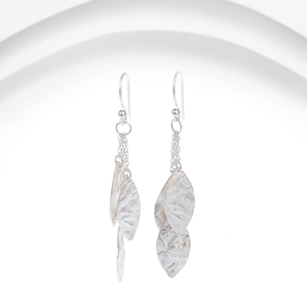 Banyan - Silver Leaves Cluster Earrings