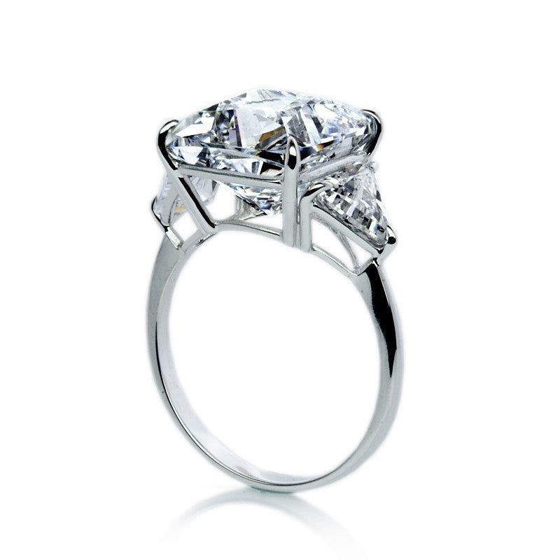 Carat London - Cubic Zirconia Set, 9ct White Gold Cushion Cut Trilogy Ring, Size O