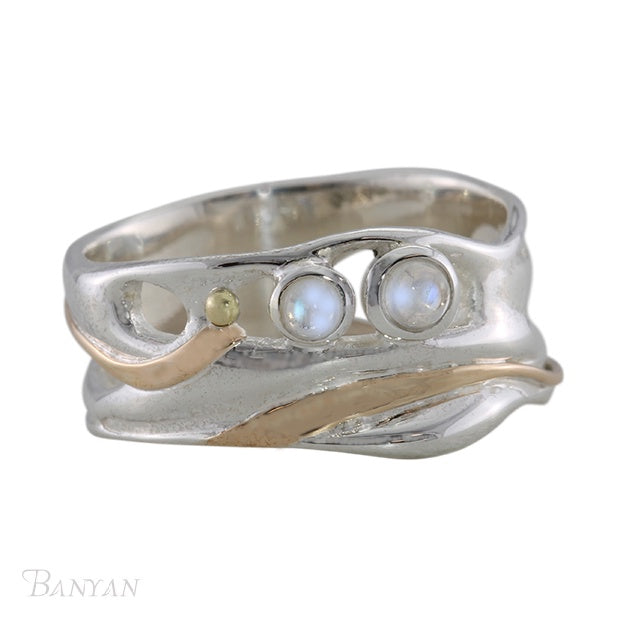 Banyan - Moonstone Duo, Sterling Silver Organic Ring, Size P