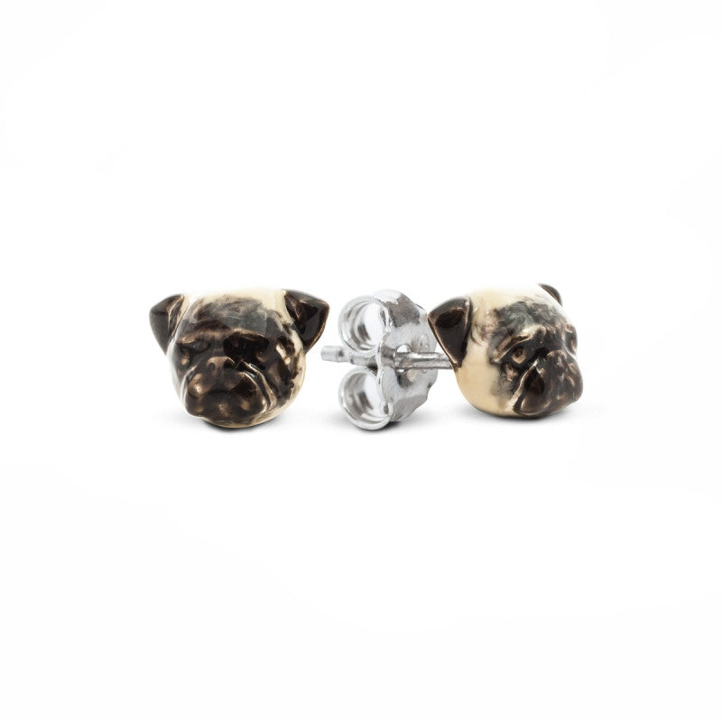 Dog Fever - Pug - Earrings in Sterling Silver and Enamel
